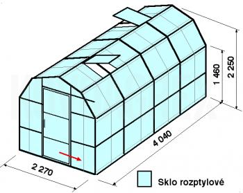 Skleník VA3-4m-zasklení D