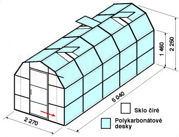 Skleník VA3-5m-zasklení A - cena včetně montáže