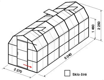 Skleník VA3-5m-zasklení B - cena včetně montáže