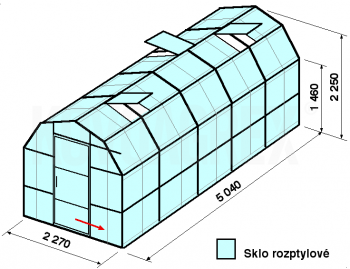 Skleník VA3-5m-zasklení D - cena včetně montáže