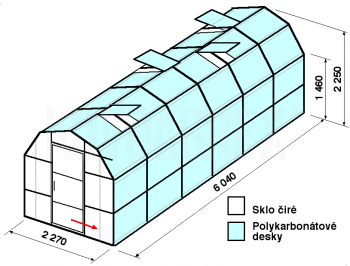 Skleník VA3-6m-zasklení A