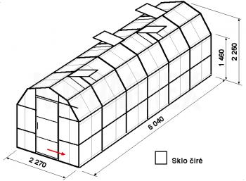 Skleník VA3-6m-zasklení B