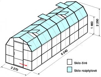 Skleník VA3-6m-zasklení C - cena včetně montáže