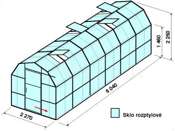 Skleník VA3-6m-zasklení D - cena včetně montáže