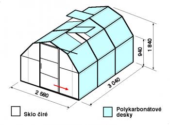 Skleník BA2-3m-zasklení A