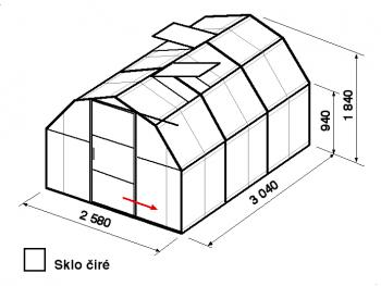 Skleník BA2-3m-zasklení B
