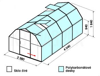 Skleník BA2-4m-zasklení A