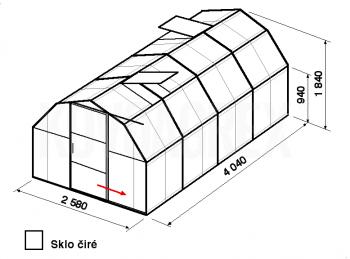 Skleník BA2-4m-zasklení B