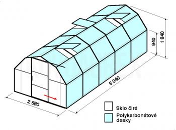 Skleník BA2-5m-zasklení A