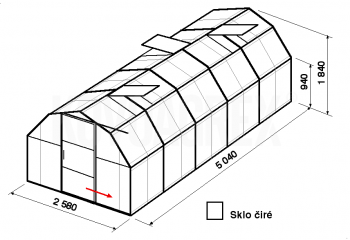 Skleník BA2-5m-zasklení B
