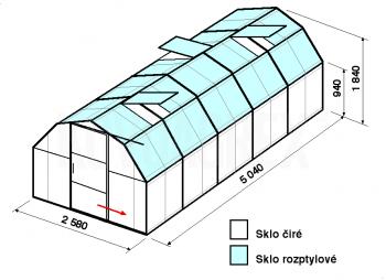 Skleník BA2-5m-zasklení C