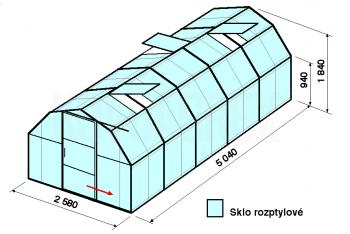 Skleník BA2-5m-zasklení D