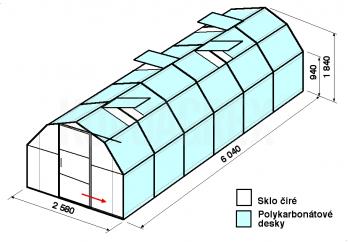 Skleník BA2-6m-zasklení B - cena včetně montáže
