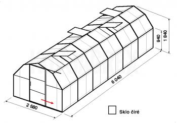 Skleník BA2-6m-zasklení B