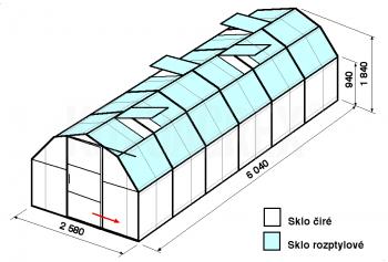 Skleník BA2-6m-zasklení C