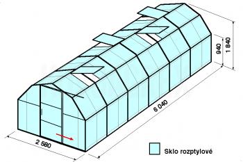 Skleník BA2-6m-zasklení D