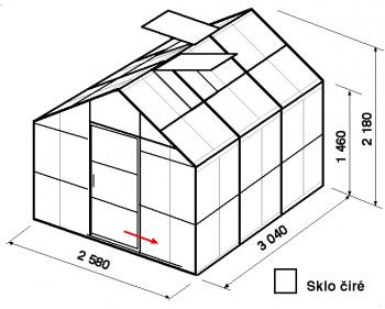 Skleník GA2-3m-zasklení B - cena včetně montáže