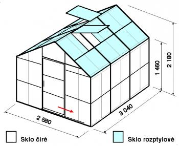 Skleník GA2-3m-zasklení C