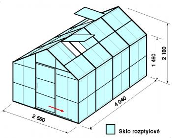 Skleník GA2-4m-zasklení D - cena včetně montáže