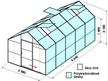 Skleník GA2-5m-zasklení A