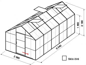 Skleník GA2-5m-zasklení B
