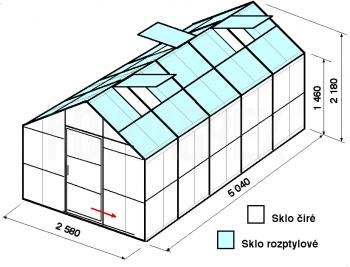 Skleník GA2-5m-zasklení C
