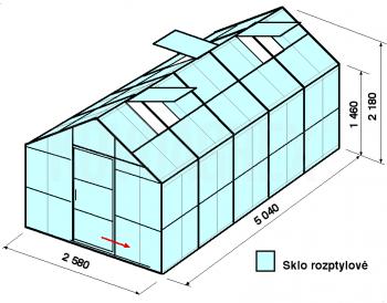 Skleník GA2-5m-zasklení D - cena včetně montáže