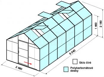 Skleník GA2-6m-zasklení A