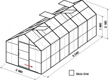Skleník GA2-6m-zasklení B