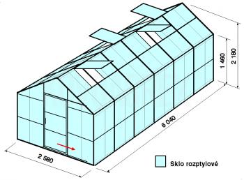 Skleník GA2-6m-zasklení D