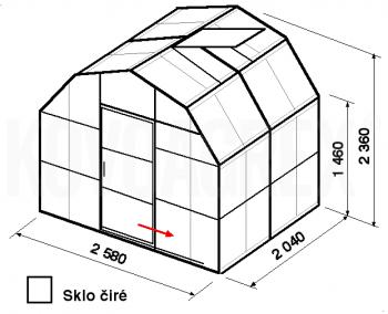 Skleník VA2-2m-zasklení B