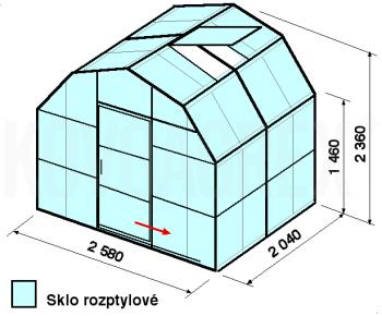 Skleník VA2-2m-zasklení D