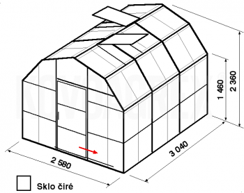 Skleník VA2-3m-zasklení B