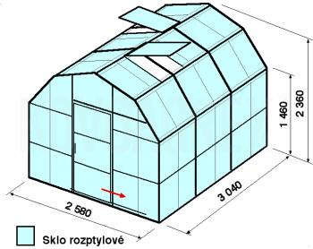 Skleník VA2-3m-zasklení D