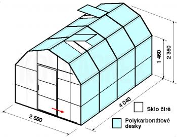 Skleník VA2-4m-zasklení A