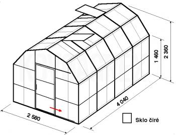 Skleník VA2-4m-zasklení B