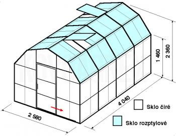 Skleník VA2-4m-zasklení C - cena včetně montáže