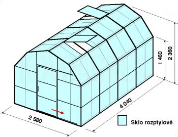 Skleník VA2-4m-zasklení D