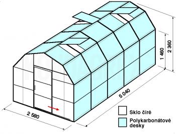 Skleník VA2-5m-zasklení A