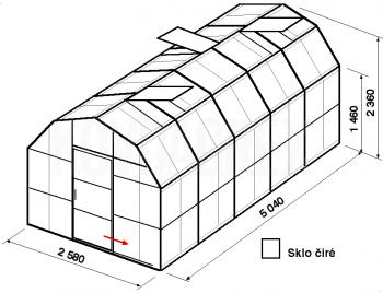 Skleník VA2-5m-zasklení B