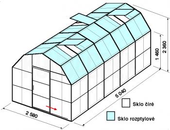 Skleník VA2-5m-zasklení C