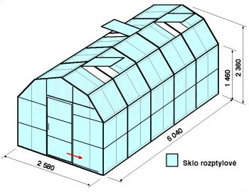 Skleník VA2-5m-zasklení D