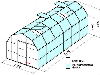 Skleník VA2-6m-zasklení A - cena včetně montáže