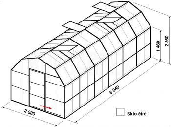 Skleník VA2-6m-zasklení B - cena včetně montáže