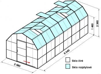 Skleník VA2-6m-zasklení C - cena včetně montáže