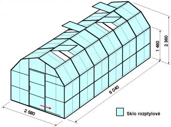 Skleník VA2-6m-zasklení D