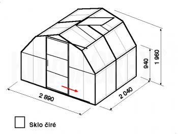 Skleník BA1-2m-zasklení B