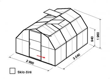 Skleník BA1-3m-zasklení B