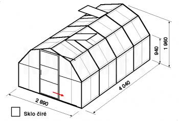 Skleník BA1-4m-zasklení B