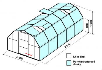 Skleník BA1-5m-zasklení A